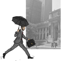 lawyer jumping a puddle